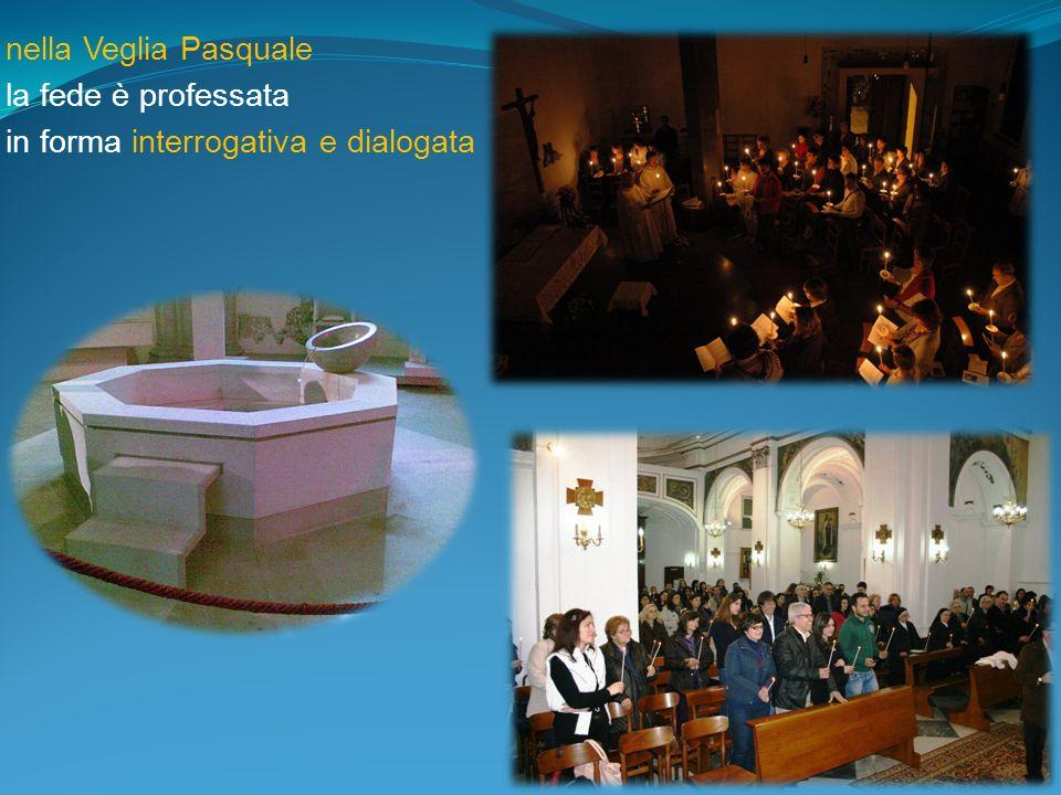 nella Veglia Pasquale la fede è professata in forma interrogativa e dialogata