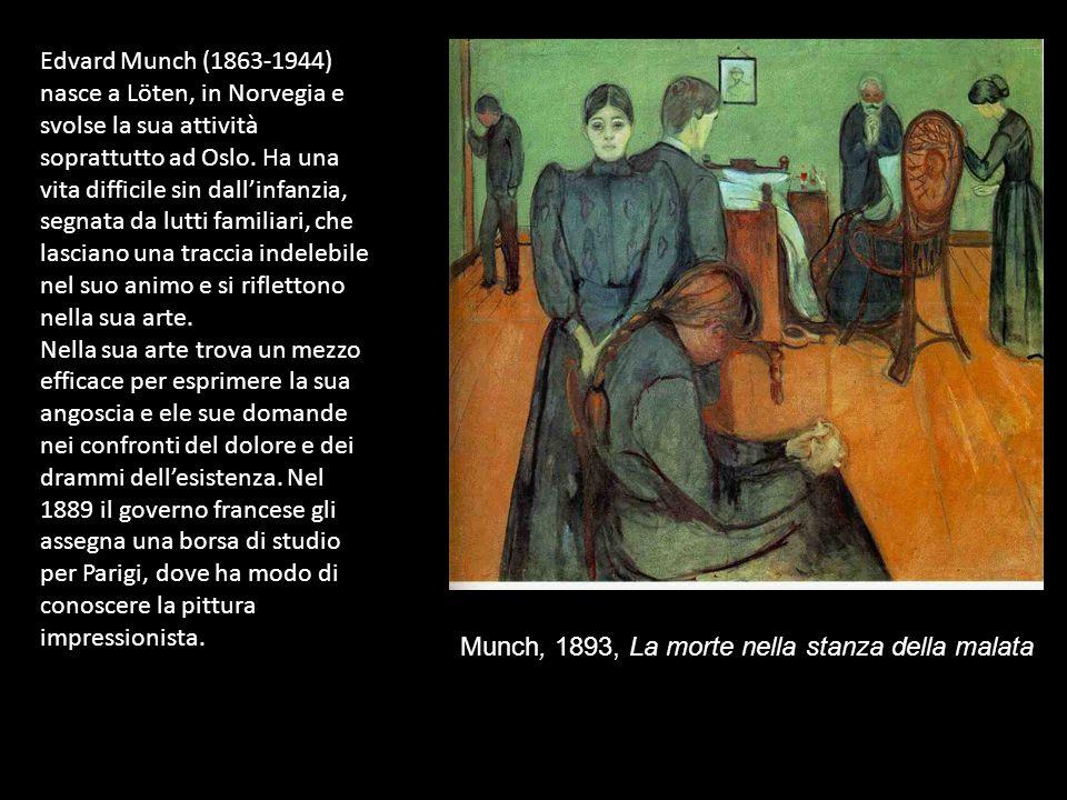 Edvard Munch (1863-1944) nasce a Löten, in Norvegia e svolse la sua attività soprattutto ad Oslo. Ha una vita difficile sin dall'infanzia, segnata da lutti familiari, che lasciano una traccia indelebile nel suo animo e si riflettono nella sua arte.