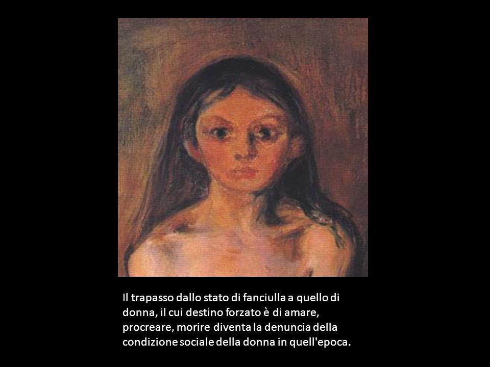 Il trapasso dallo stato di fanciulla a quello di donna, il cui destino forzato è di amare, procreare, morire diventa la denuncia della condizione sociale della donna in quell epoca.