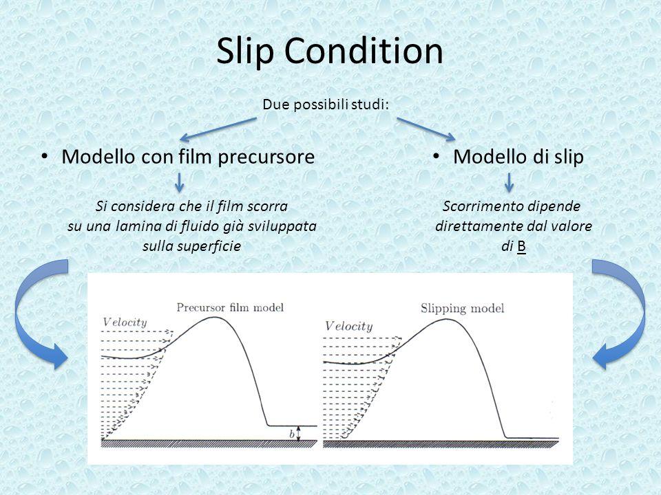 Slip Condition Modello con film precursore Modello di slip