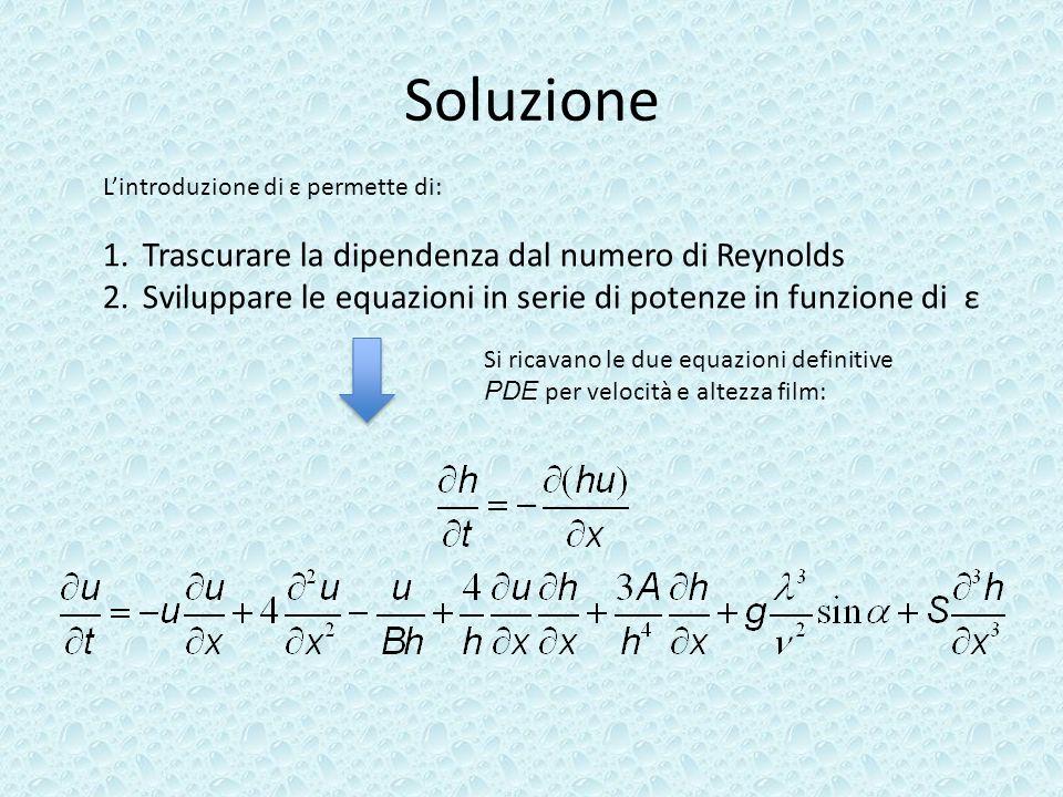 Soluzione Trascurare la dipendenza dal numero di Reynolds