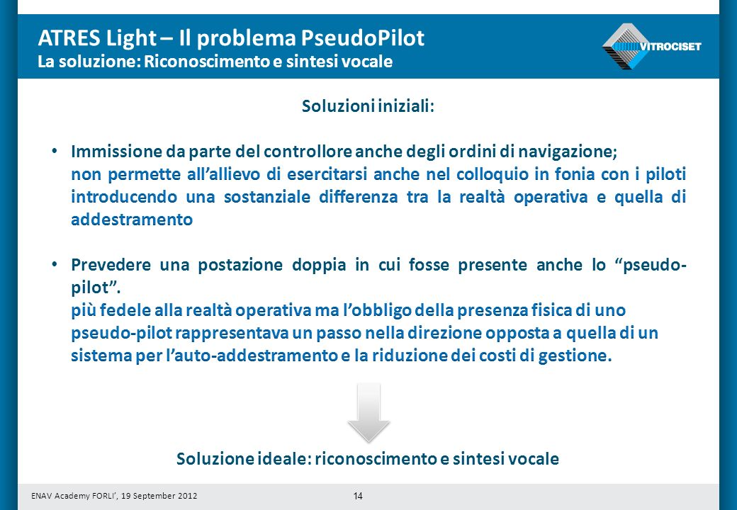 Soluzione ideale: riconoscimento e sintesi vocale