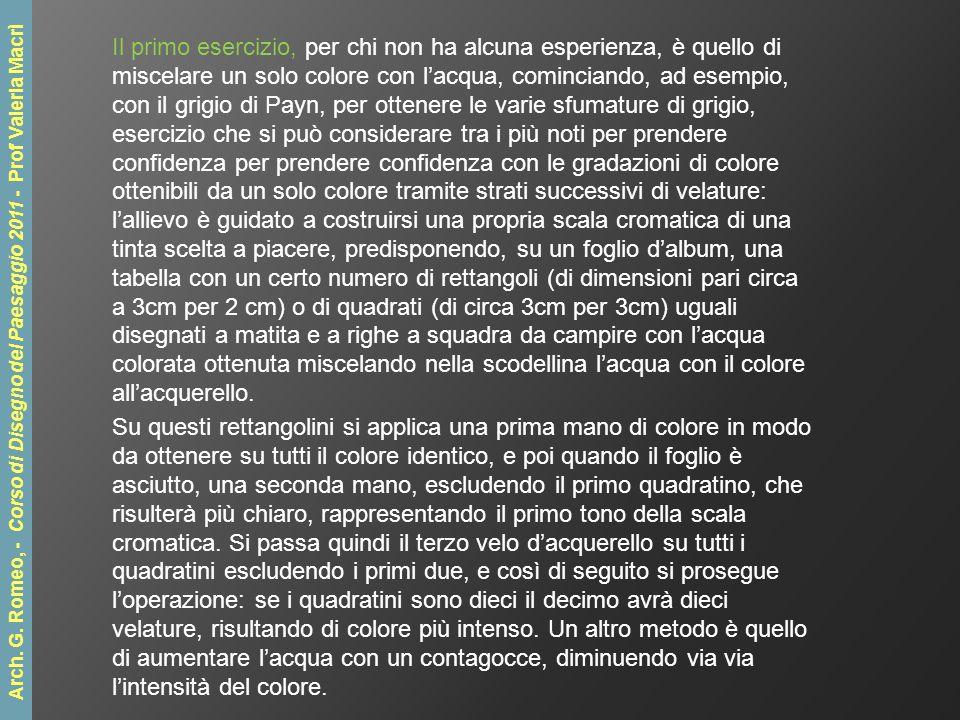 Eccezionale L'acquerello Arch. Giuseppe Romeo - Corso di Disegno del Paesaggio  US61