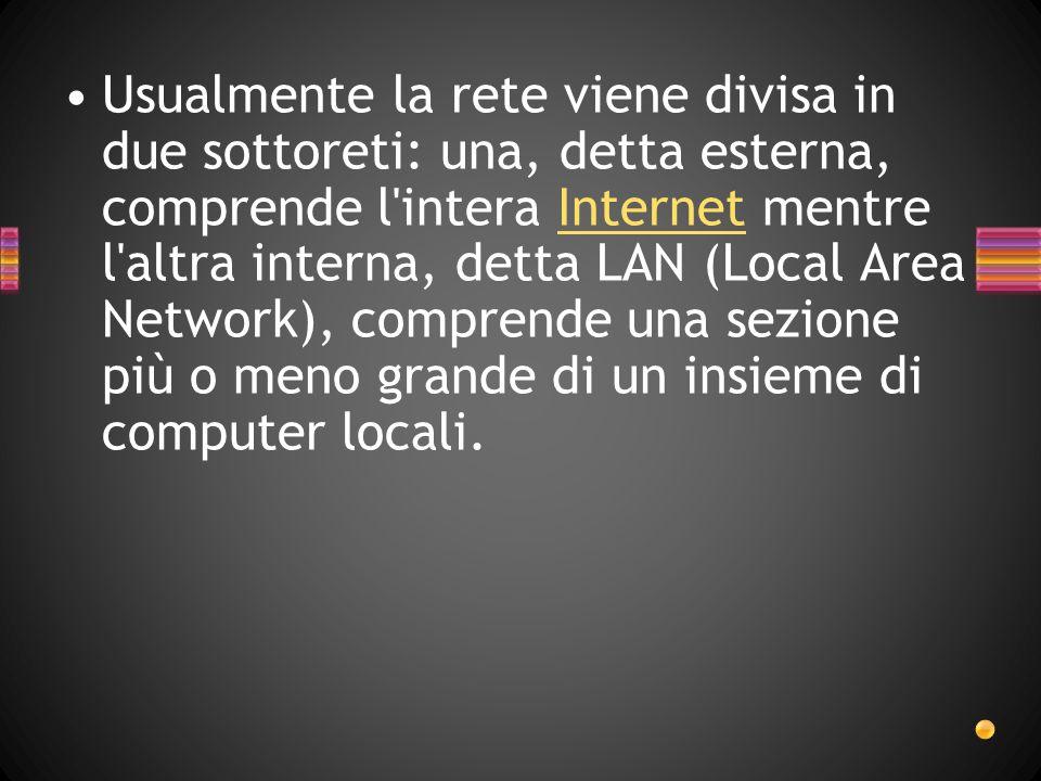 Usualmente la rete viene divisa in due sottoreti: una, detta esterna, comprende l intera Internet mentre l altra interna, detta LAN (Local Area Network), comprende una sezione più o meno grande di un insieme di computer locali.