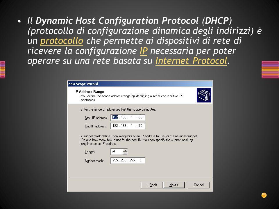 Il Dynamic Host Configuration Protocol (DHCP) (protocollo di configurazione dinamica degli indirizzi) è un protocollo che permette ai dispositivi di rete di ricevere la configurazione IP necessaria per poter operare su una rete basata su Internet Protocol.