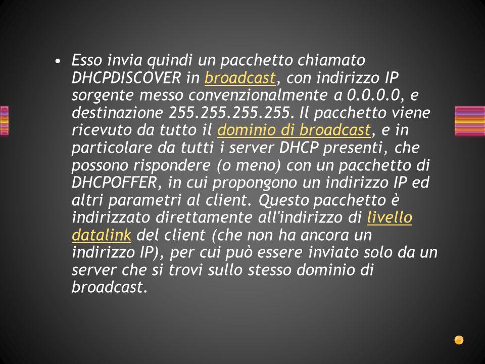 Esso invia quindi un pacchetto chiamato DHCPDISCOVER in broadcast, con indirizzo IP sorgente messo convenzionalmente a 0.0.0.0, e destinazione 255.255.255.255.