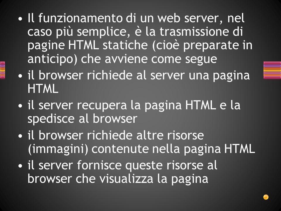 Il funzionamento di un web server, nel caso più semplice, è la trasmissione di pagine HTML statiche (cioè preparate in anticipo) che avviene come segue