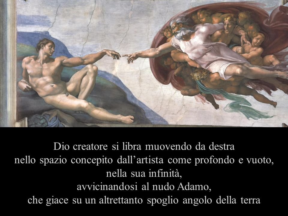 Dio creatore si libra muovendo da destra