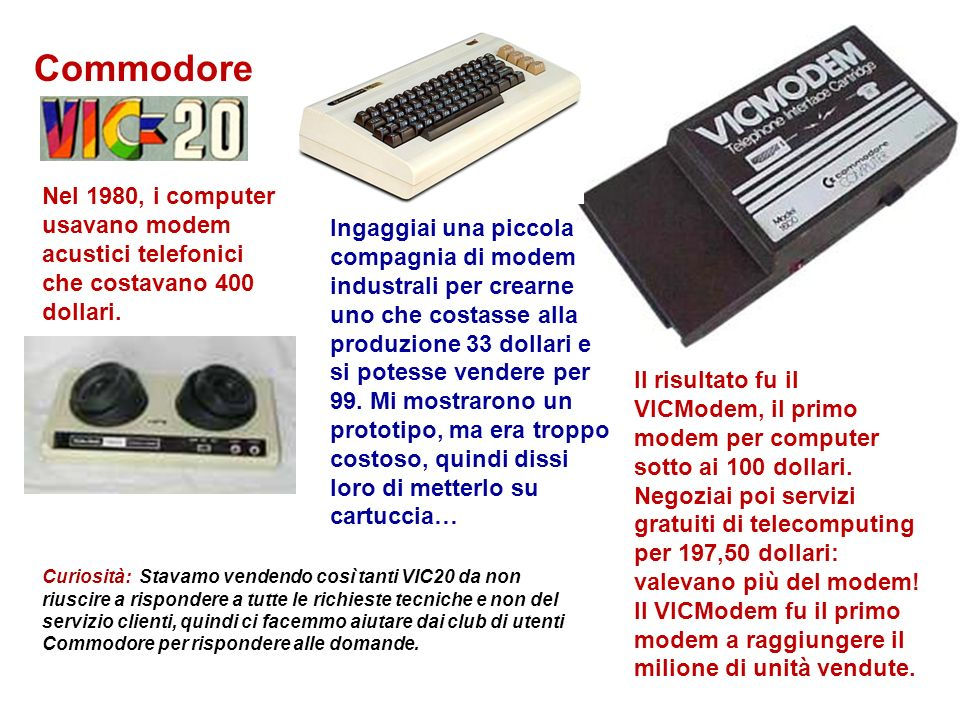 Commodore Nel 1980, i computer usavano modem acustici telefonici che costavano 400 dollari.