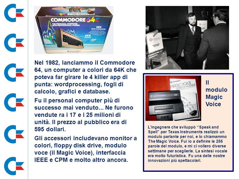 Nel 1982, lanciammo il Commodore 64, un computer a colori da 64K che poteva far girare le 4 killer app di punta: wordprocessing, fogli di calcolo, grafici e database.