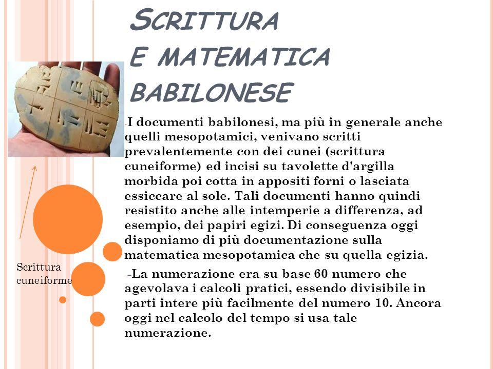 Scrittura e matematica babilonese