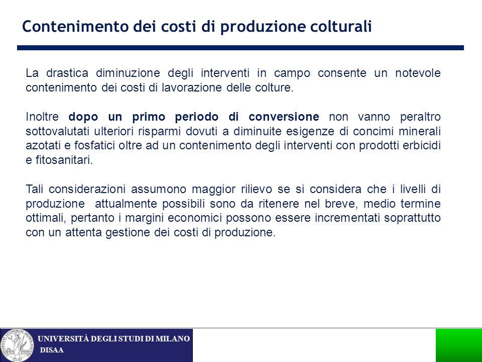 Contenimento dei costi di produzione colturali