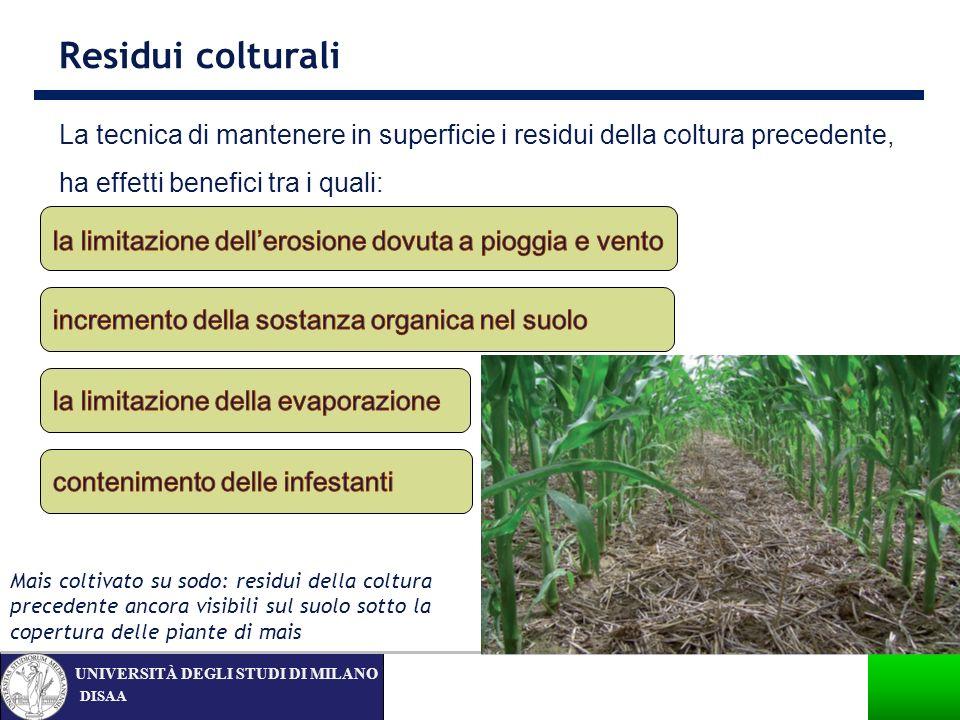 Residui colturali La tecnica di mantenere in superficie i residui della coltura precedente, ha effetti benefici tra i quali: