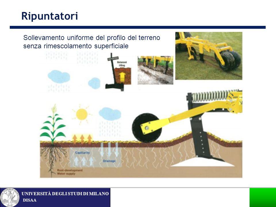 Ripuntatori Sollevamento uniforme del profilo del terreno senza rimescolamento superficiale