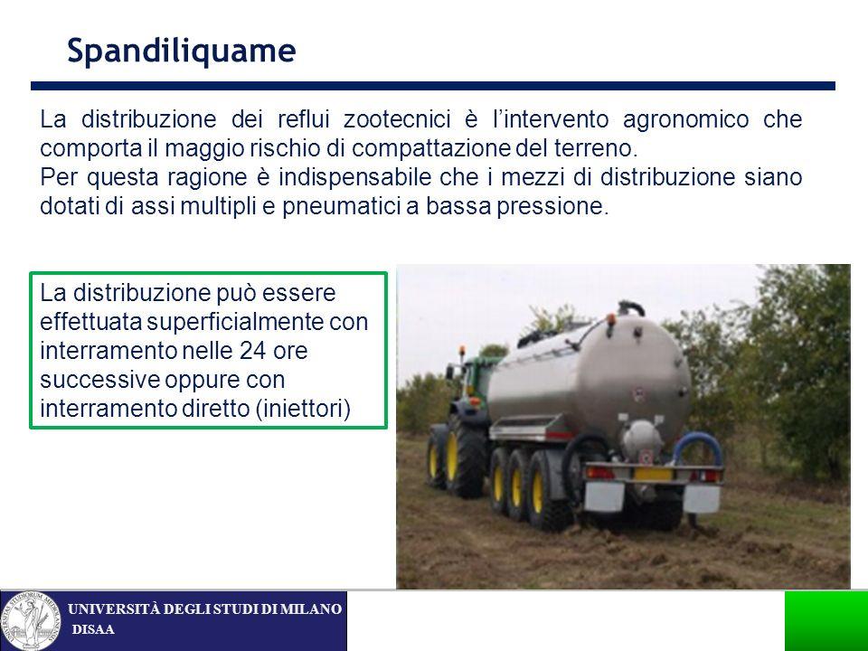 Spandiliquame La distribuzione dei reflui zootecnici è l'intervento agronomico che comporta il maggio rischio di compattazione del terreno.