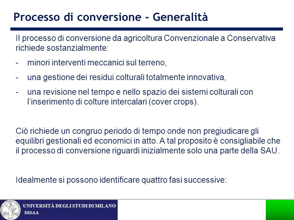 Processo di conversione - Generalità