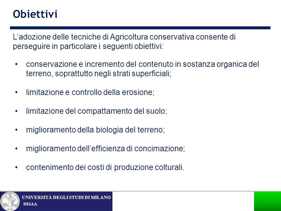Obiettivi L'adozione delle tecniche di Agricoltura conservativa consente di perseguire in particolare i seguenti obiettivi: