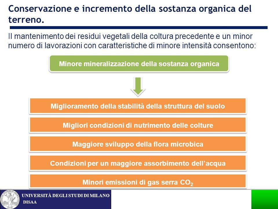 Conservazione e incremento della sostanza organica del terreno.