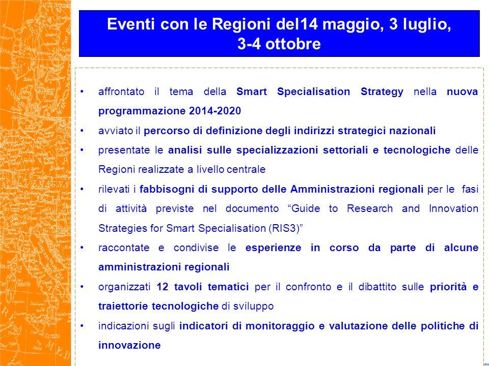 Eventi con le Regioni del14 maggio, 3 luglio,