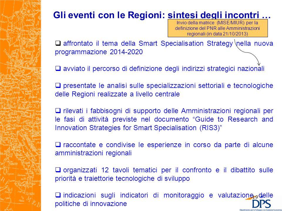 Gli eventi con le Regioni: sintesi degli incontri …