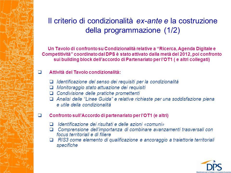 Il criterio di condizionalità ex-ante e la costruzione della programmazione (1/2)