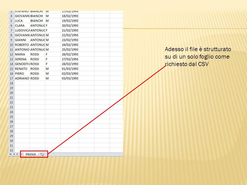 Adesso il file è strutturato su di un solo foglio come richiesto dal CSV