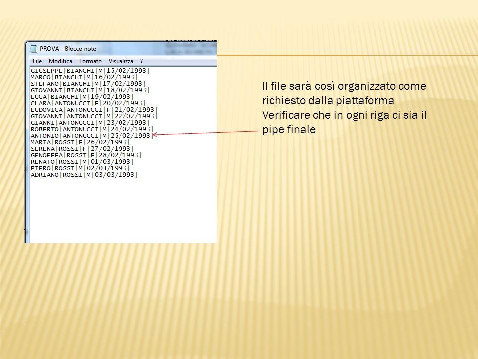Il file sarà così organizzato come richiesto dalla piattaforma