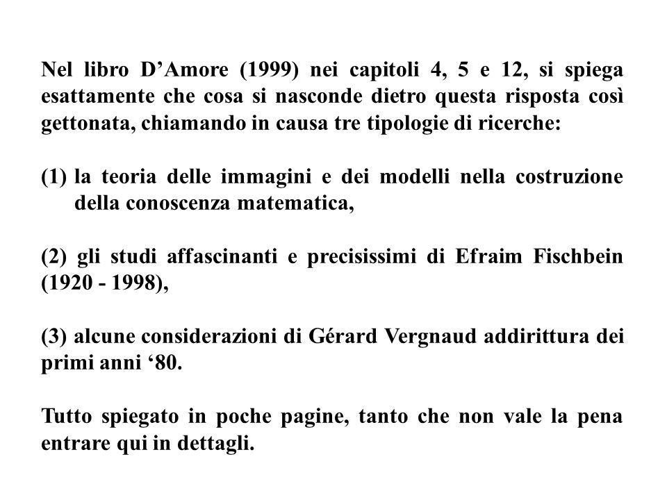 Nel libro D'Amore (1999) nei capitoli 4, 5 e 12, si spiega esattamente che cosa si nasconde dietro questa risposta così gettonata, chiamando in causa tre tipologie di ricerche: