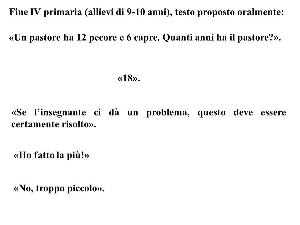 Fine IV primaria (allievi di 9-10 anni), testo proposto oralmente: