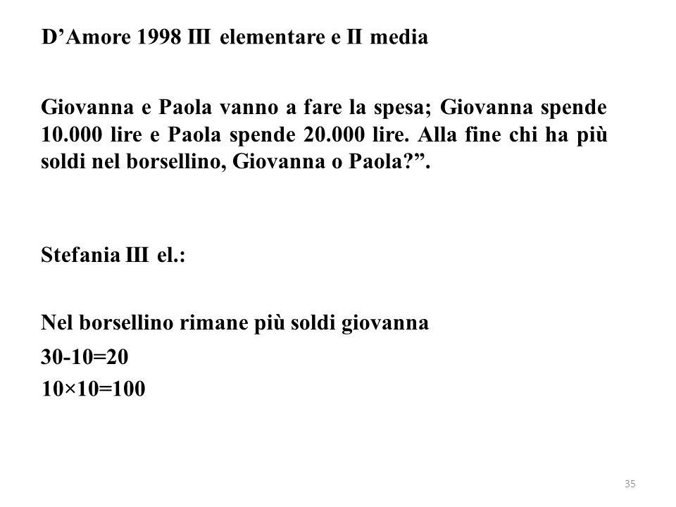 D'Amore 1998 III elementare e II media