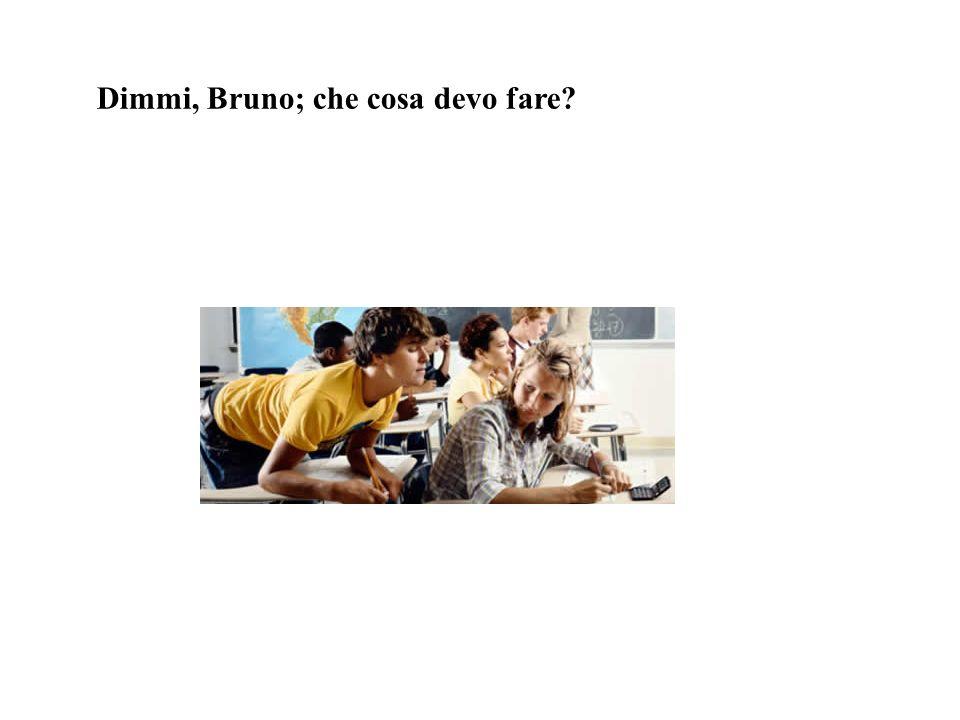 Dimmi, Bruno; che cosa devo fare