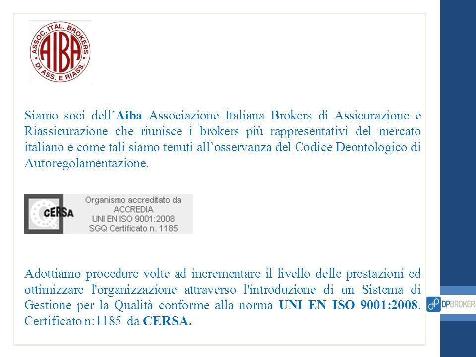 Siamo soci dell'Aiba Associazione Italiana Brokers di Assicurazione e Riassicurazione che riunisce i brokers più rappresentativi del mercato italiano e come tali siamo tenuti all'osservanza del Codice Deontologico di Autoregolamentazione.