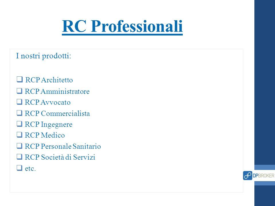 RC Professionali I nostri prodotti: RCP Architetto RCP Amministratore
