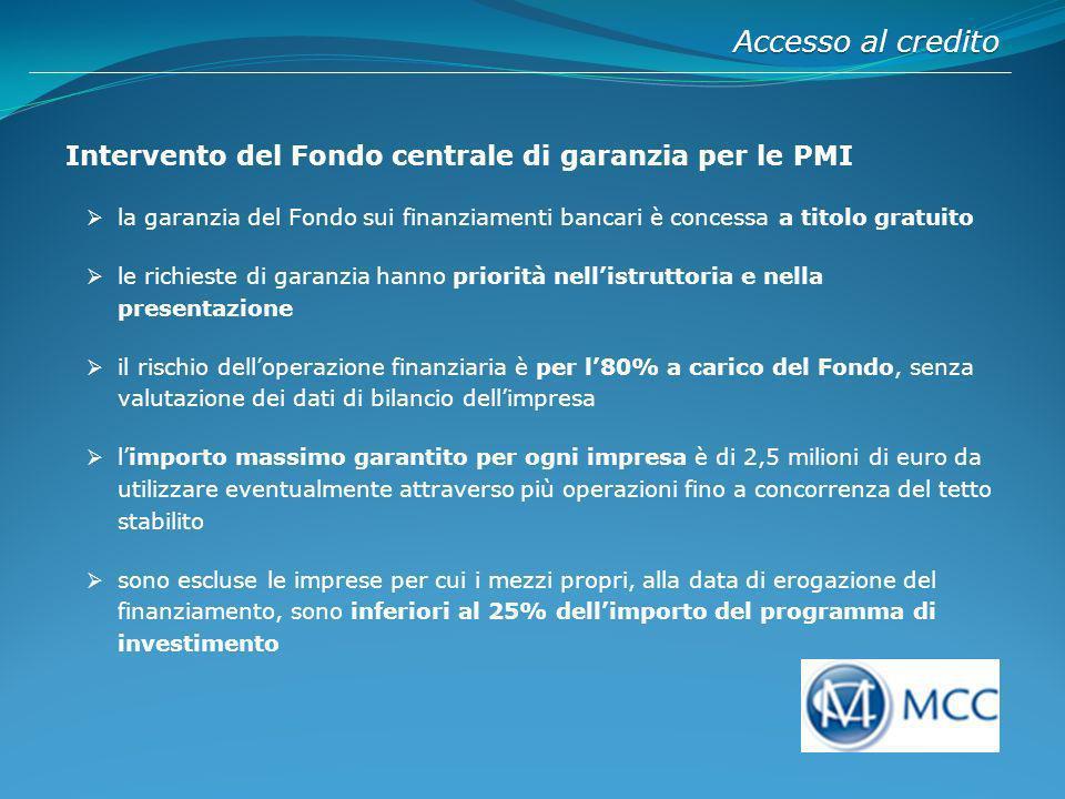 Accesso al credito Intervento del Fondo centrale di garanzia per le PMI.