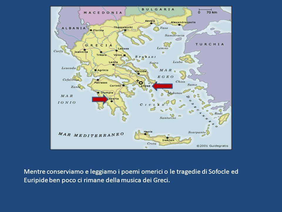 Mentre conserviamo e leggiamo i poemi omerici o le tragedie di Sofocle ed Euripide ben poco ci rimane della musica dei Greci.