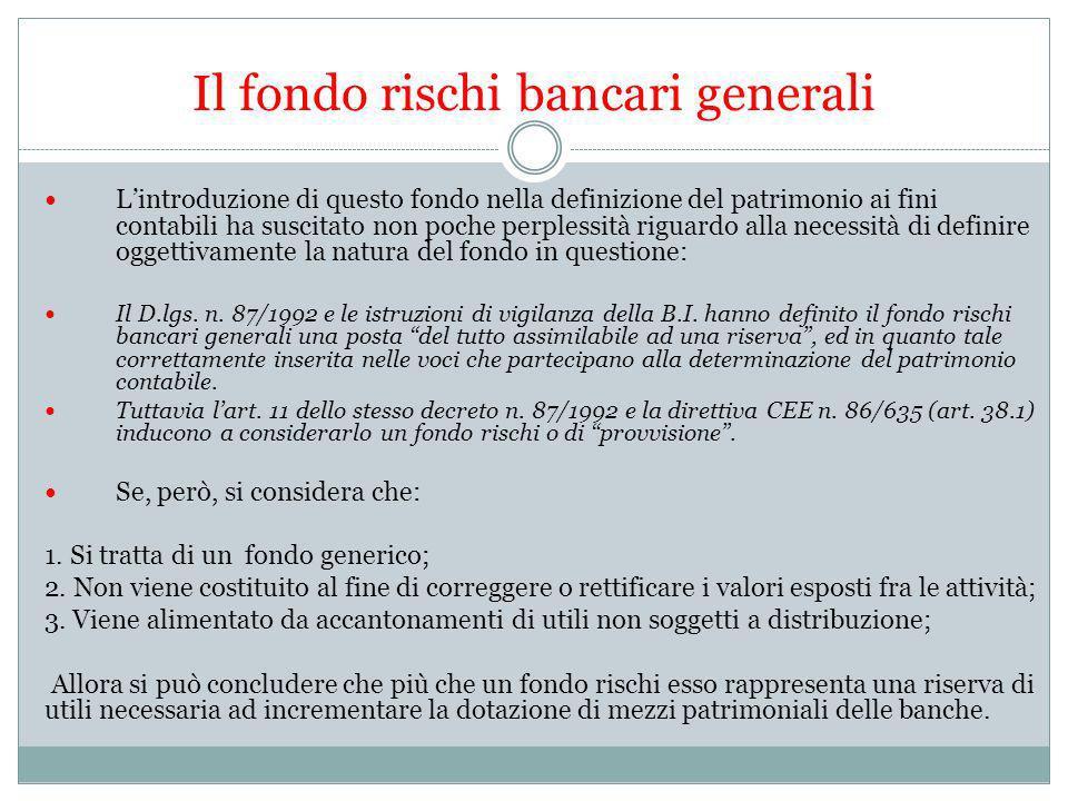 Il fondo rischi bancari generali