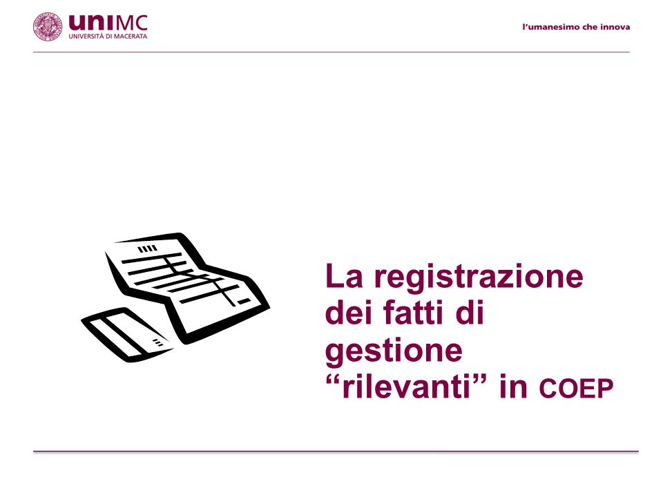 La registrazione dei fatti di gestione rilevanti in coep