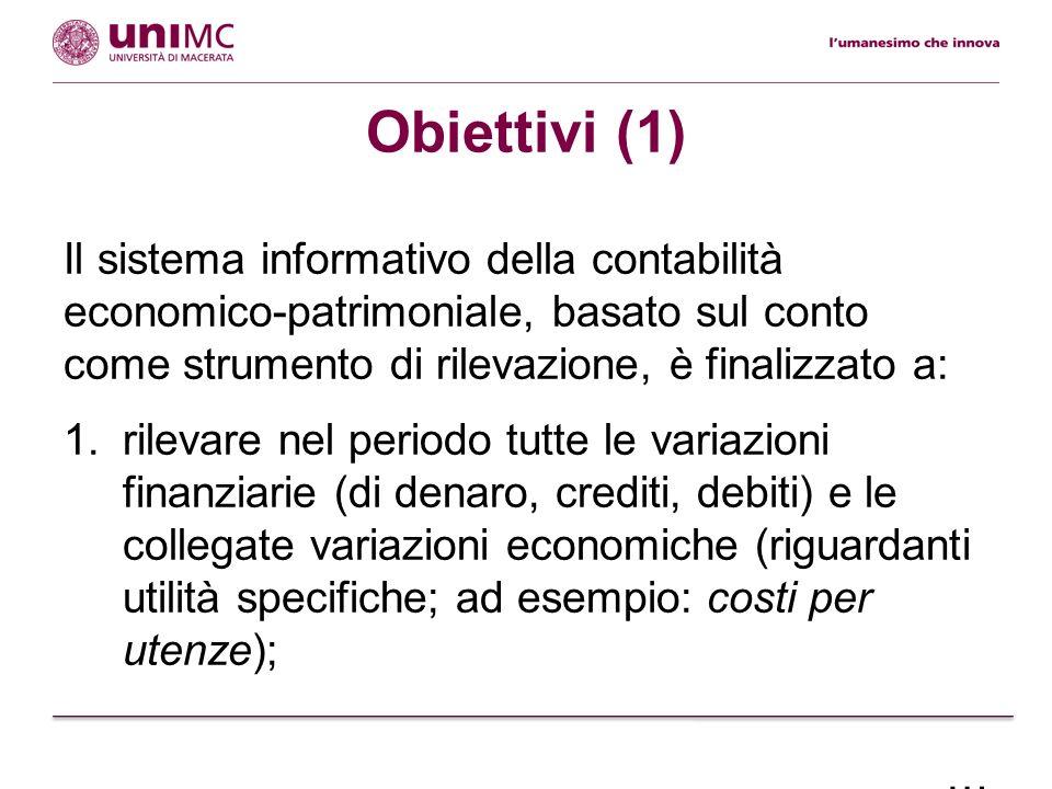 Obiettivi (1) Il sistema informativo della contabilità economico-patrimoniale, basato sul conto come strumento di rilevazione, è finalizzato a: