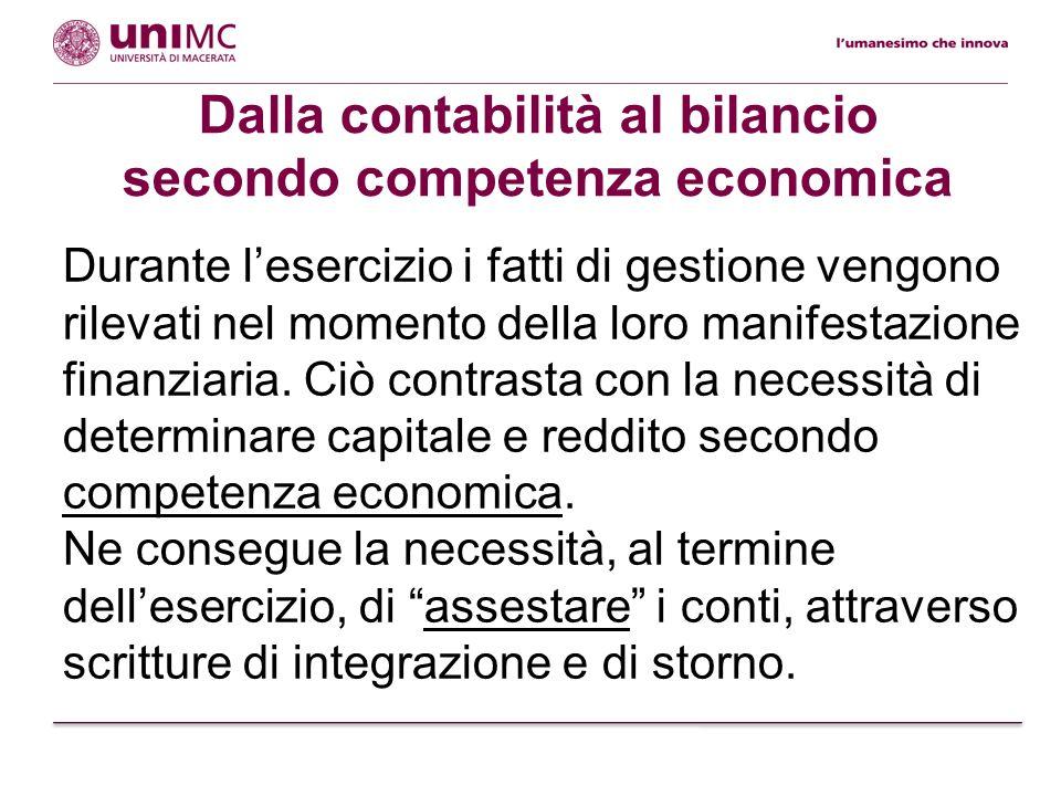 Dalla contabilità al bilancio secondo competenza economica