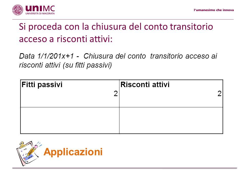 Si proceda con la chiusura del conto transitorio acceso a risconti attivi: