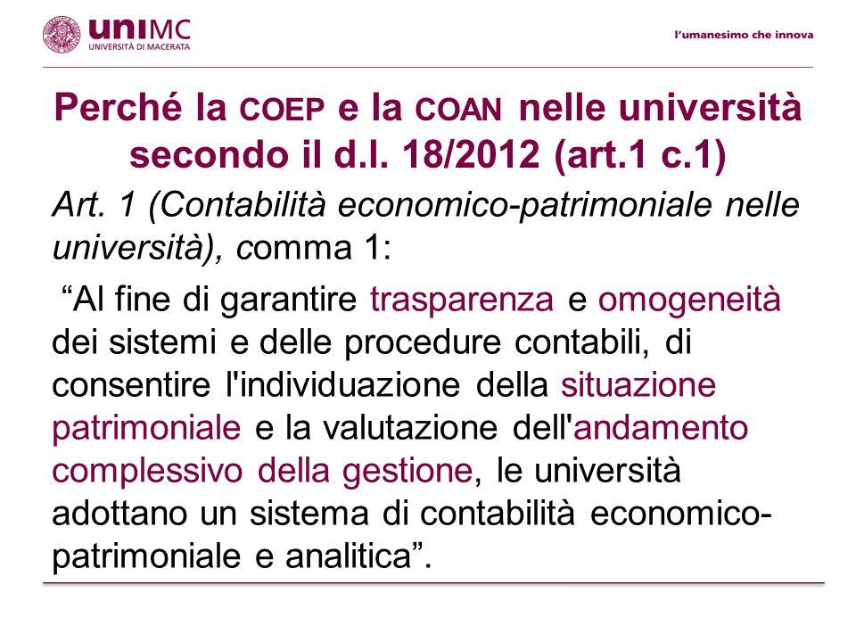 Perché la coep e la coan nelle università secondo il d.l. 18/2012 (art.1 c.1)
