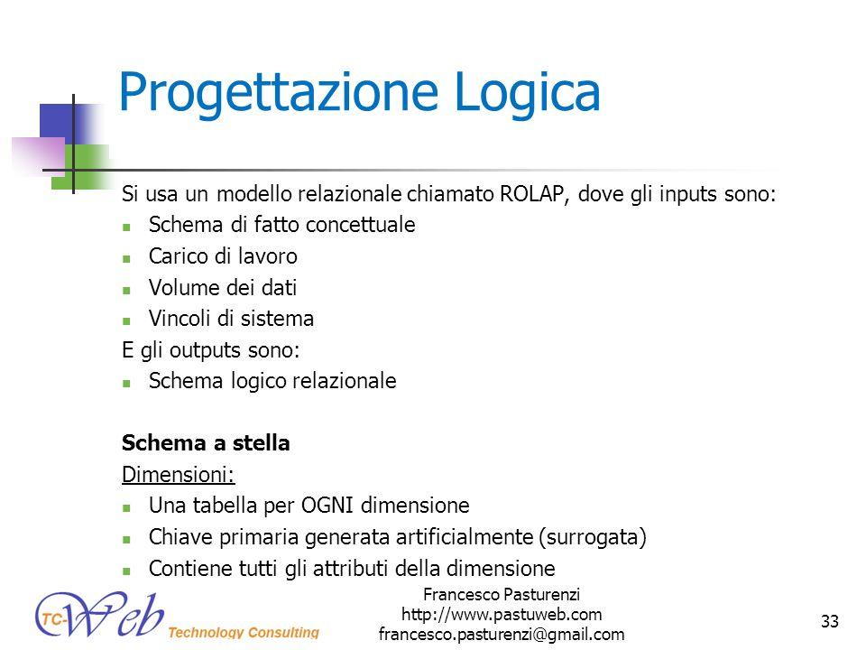 * 16/07/96. Progettazione Logica. Si usa un modello relazionale chiamato ROLAP, dove gli inputs sono: