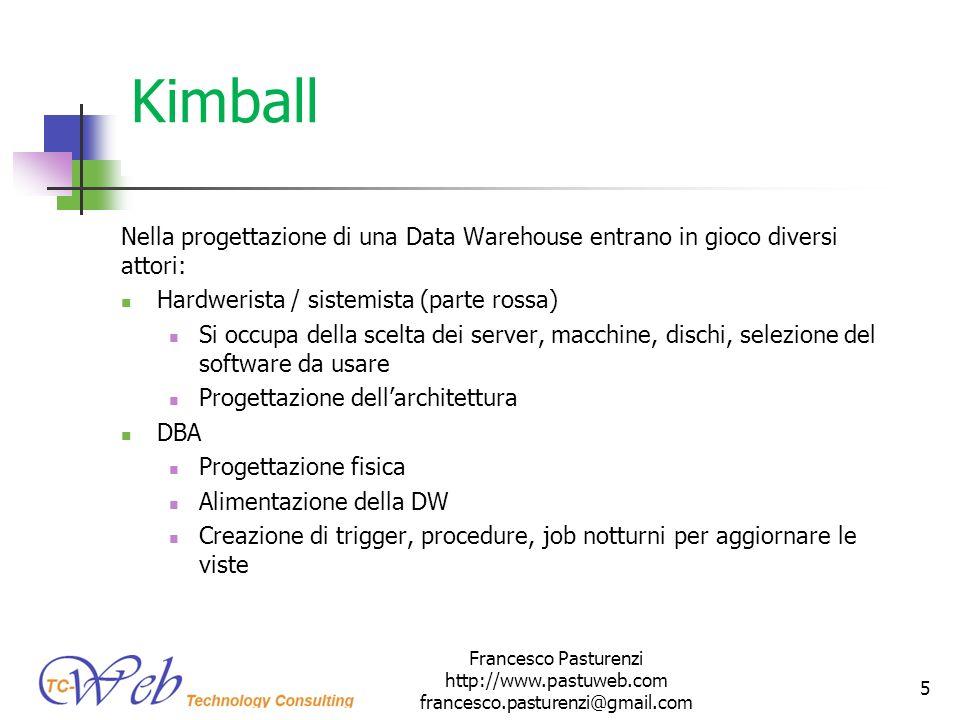 * 16/07/96. Kimball. Nella progettazione di una Data Warehouse entrano in gioco diversi attori: Hardwerista / sistemista (parte rossa)