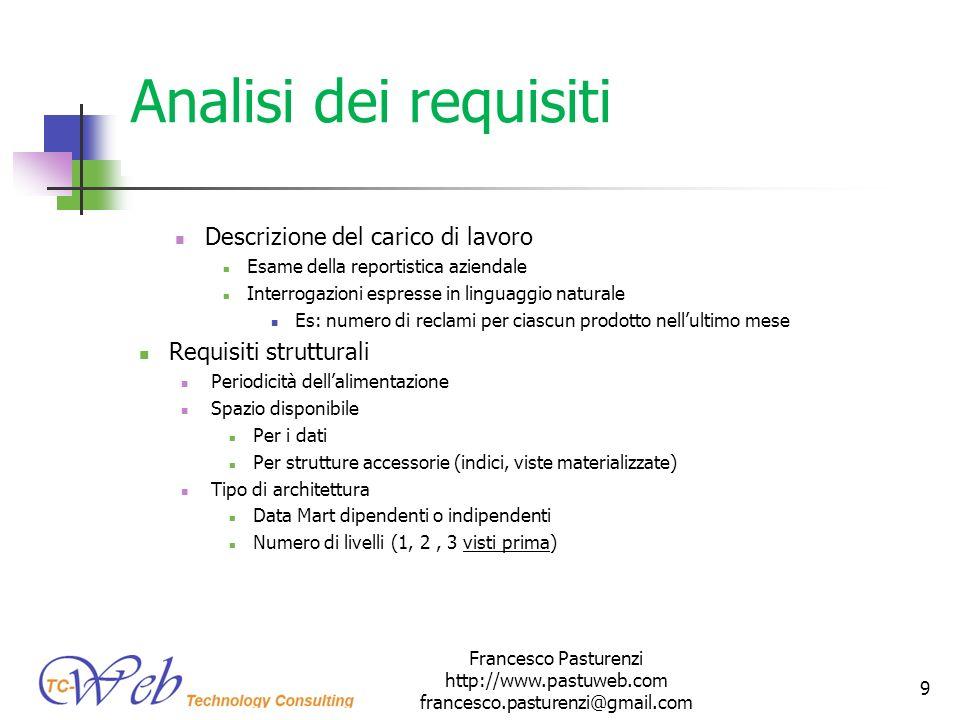 Analisi dei requisiti Descrizione del carico di lavoro