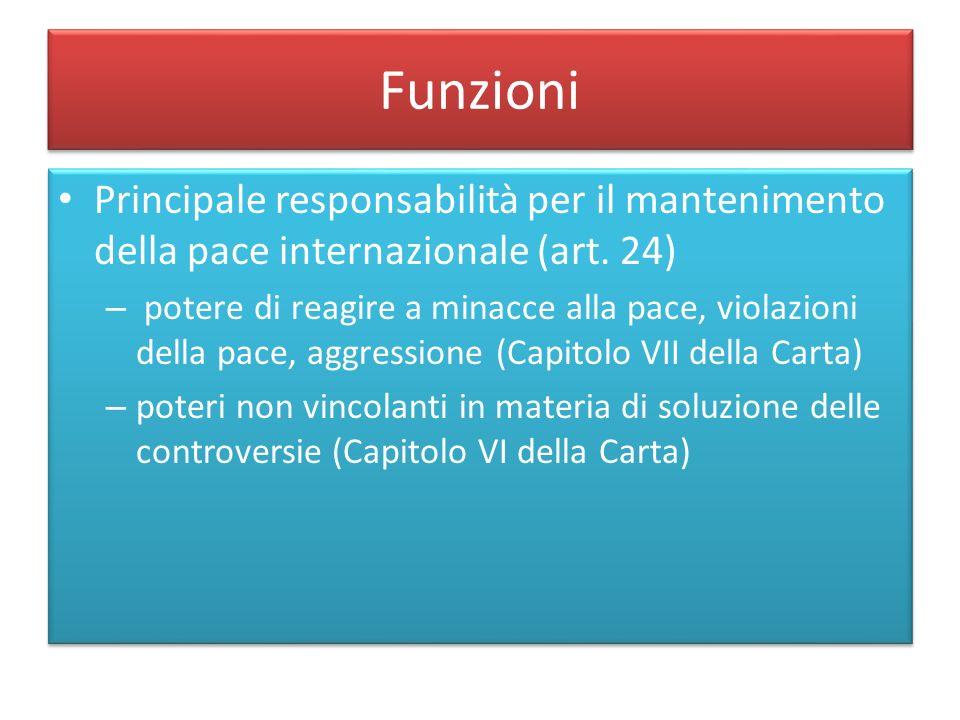 Funzioni Principale responsabilità per il mantenimento della pace internazionale (art. 24)