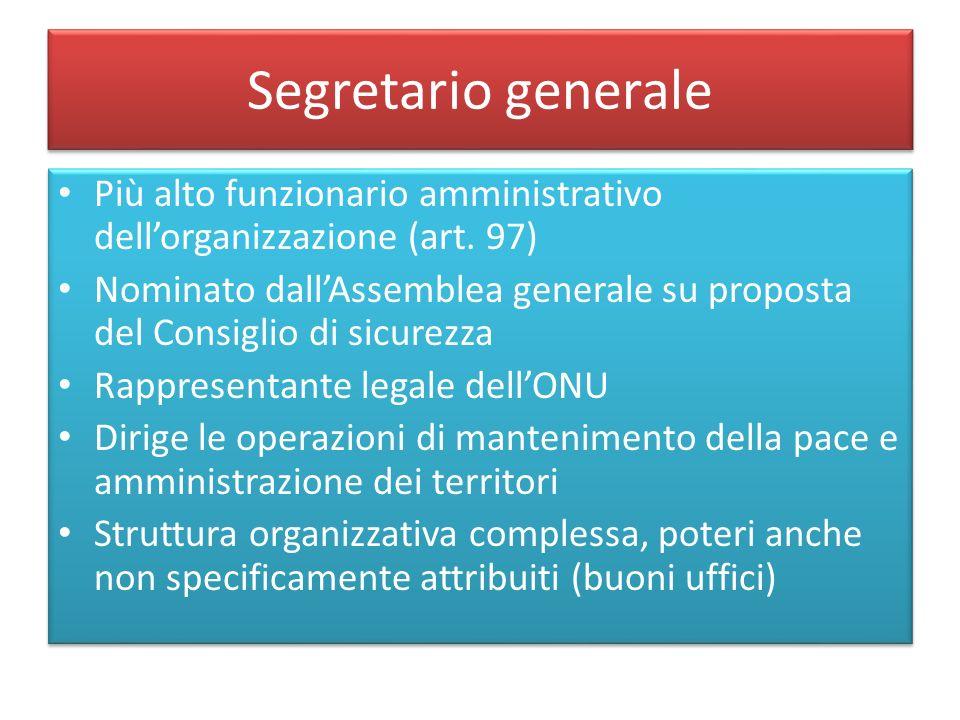 Segretario generale Più alto funzionario amministrativo dell'organizzazione (art. 97)