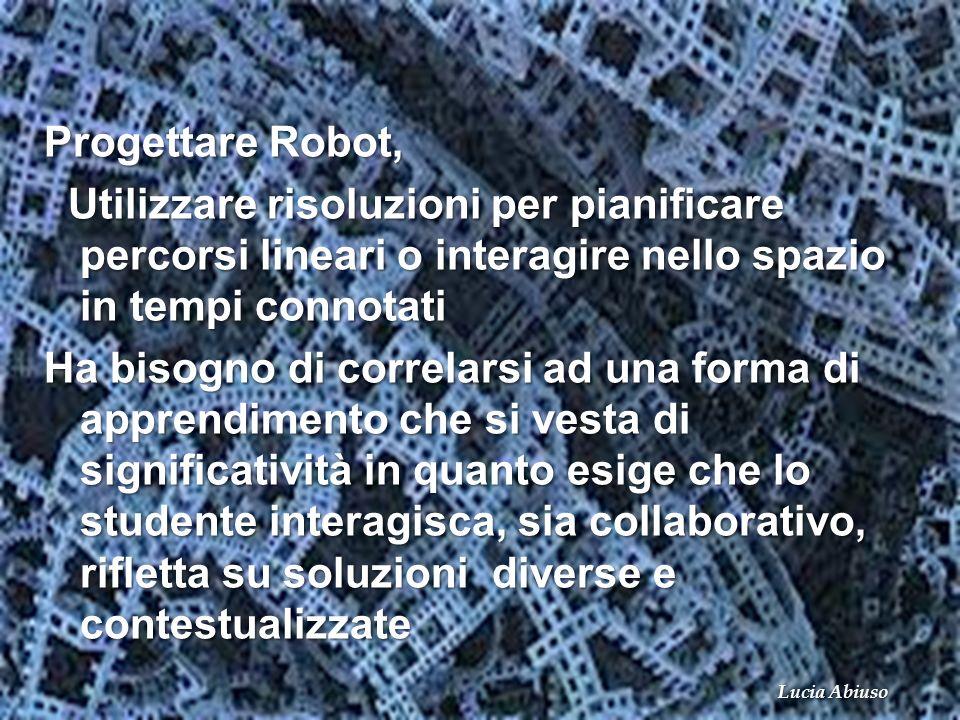 Progettare Robot, Utilizzare risoluzioni per pianificare percorsi lineari o interagire nello spazio in tempi connotati.