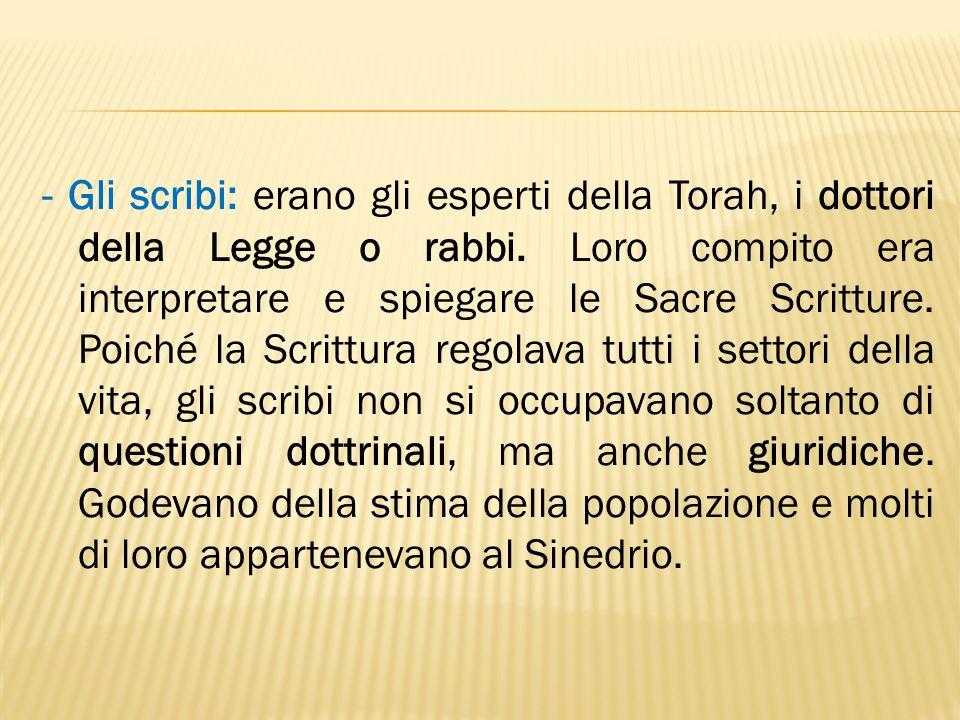 - Gli scribi: erano gli esperti della Torah, i dottori della Legge o rabbi.