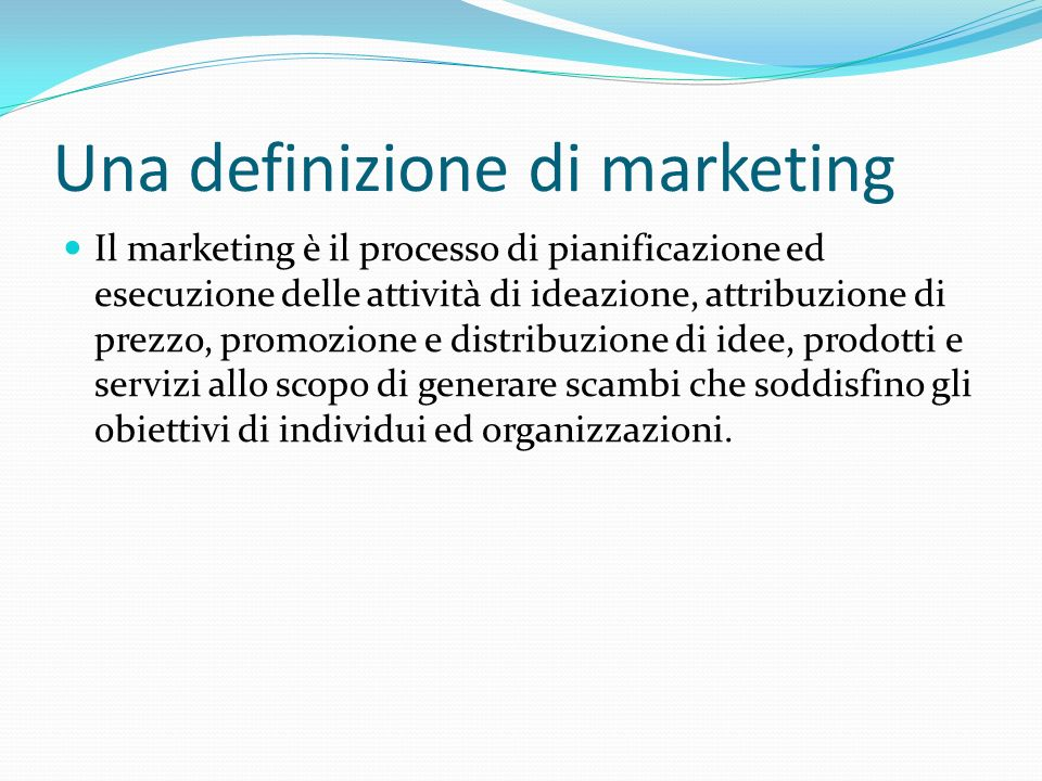 Una definizione di marketing