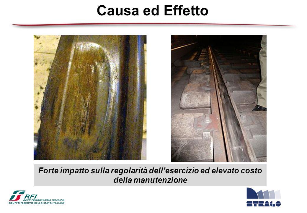 Causa ed Effetto Forte impatto sulla regolarità dell'esercizio ed elevato costo della manutenzione